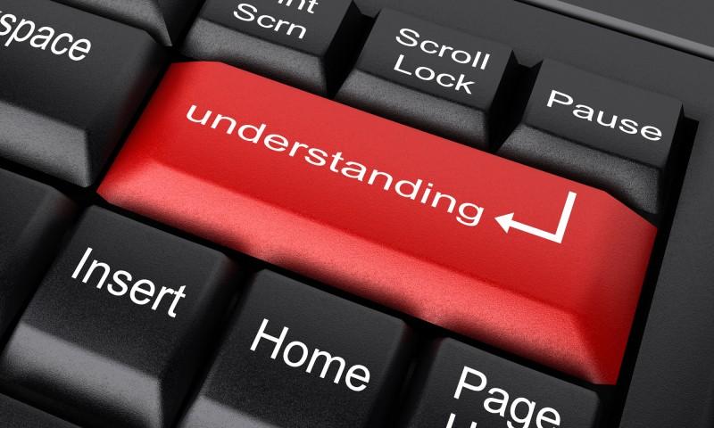 understanding word on red keyboard button